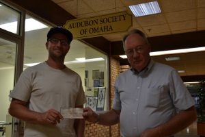Matt Miller of Audubon Society present check of $2800.00 to Glenn Pollock of LHPS for restoration work at Vincent Bluffs State Preserve